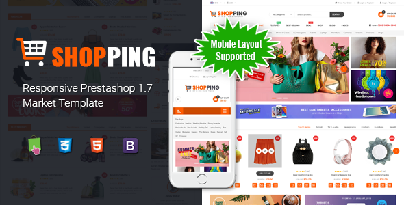 Shopping - Clean Multipurpose Responsive PrestaShop 1.7 eCommerce Theme with Mobile Layout Supported