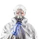 Chinese Woman Wearing Hazmat Suit, Protective Gas Mask and Goggles Isolated On White - PhotoDune Item for Sale