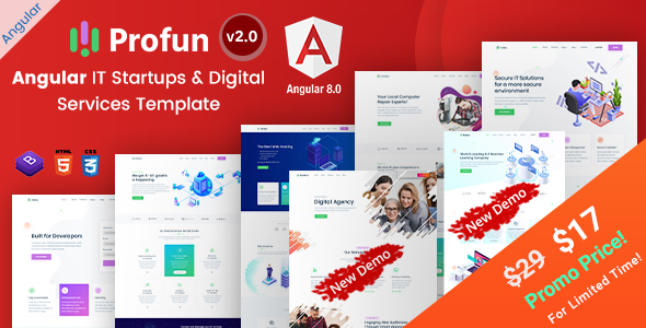 Profun - Angular IT Startups & Digital Services Template by EnvyTheme