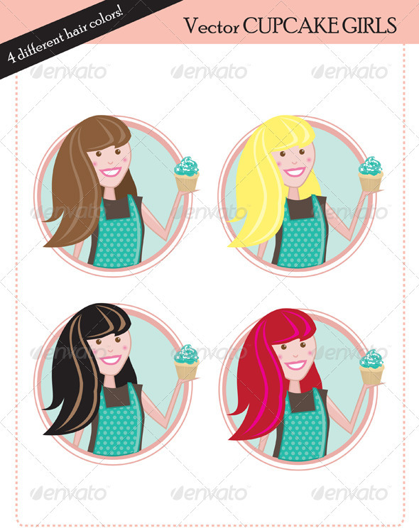 Cupcake Girls - Characters Vectors