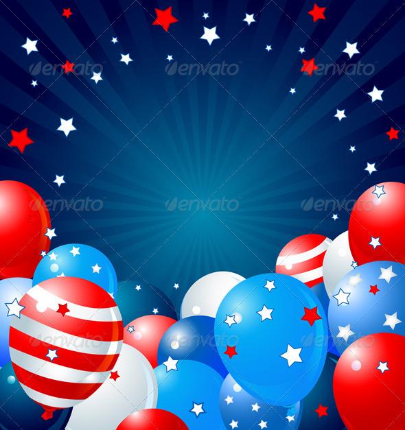 Patriotic balloons border - Seasons/Holidays Conceptual
