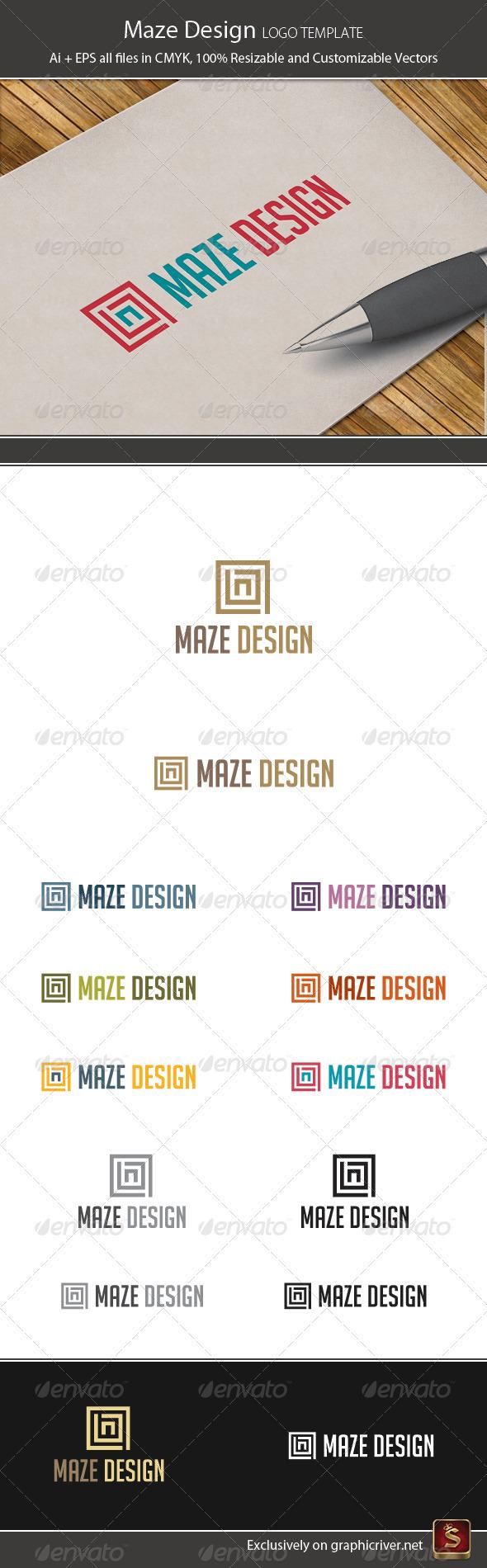Maze Design Logo Template - Vector Abstract