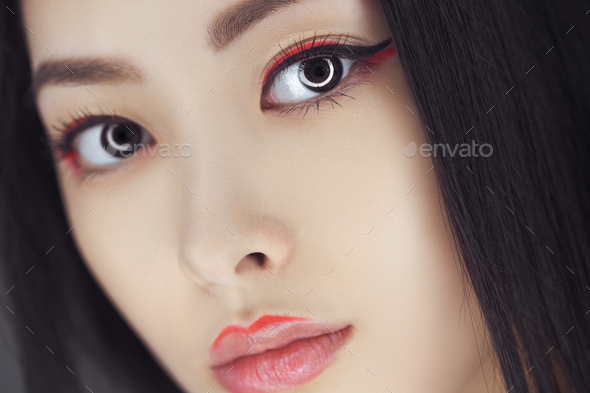 Asian beauty woman with creative make-up. Close-up portrait - Stock Photo - Images