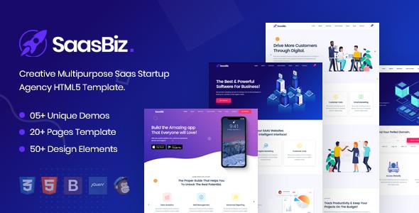 Awesome SaasBiz - Saas Startup HTML Template