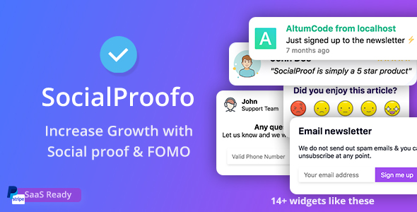 SocialProofo - 14+ Social Proof & FOMO Notifications for Growth (SaaS Ready)