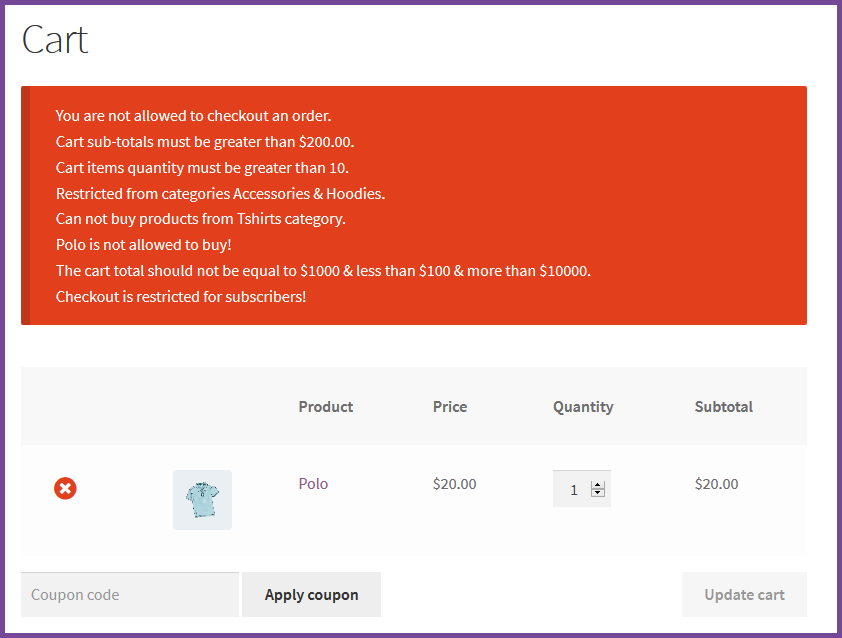 WooCommerce Restrict Checkout Plugin - 2