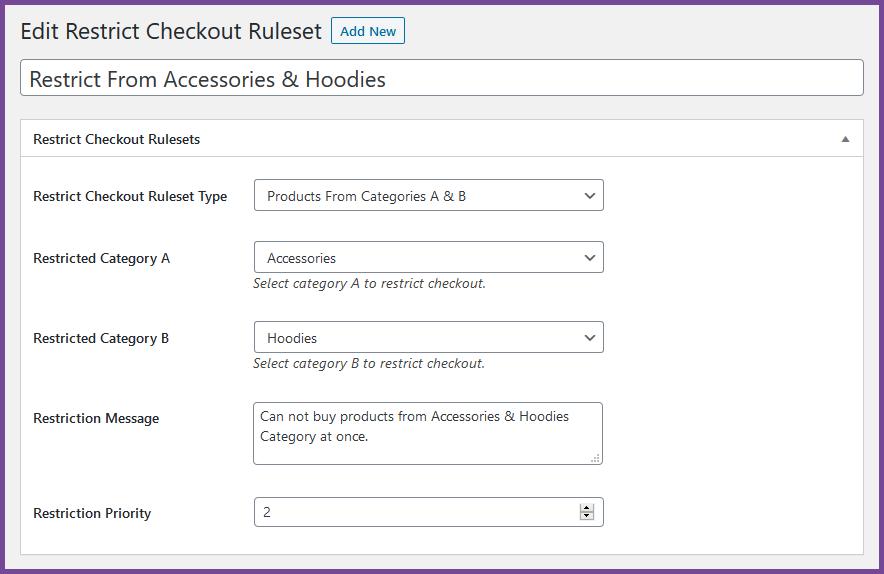 WooCommerce Restringir check-out por categorias A e B