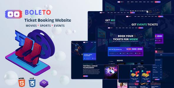 Boleto - Online Ticket Booking Website HTML Template by pixelaxis