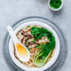 Asian Vegetarian Udon or Ramen noodles soup in bowl with Shiitake mushrooms and Bok Choy - PhotoDune Item for Sale
