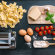 Homemade tagliatelle with ingradients for tomato sauce - PhotoDune Item for Sale