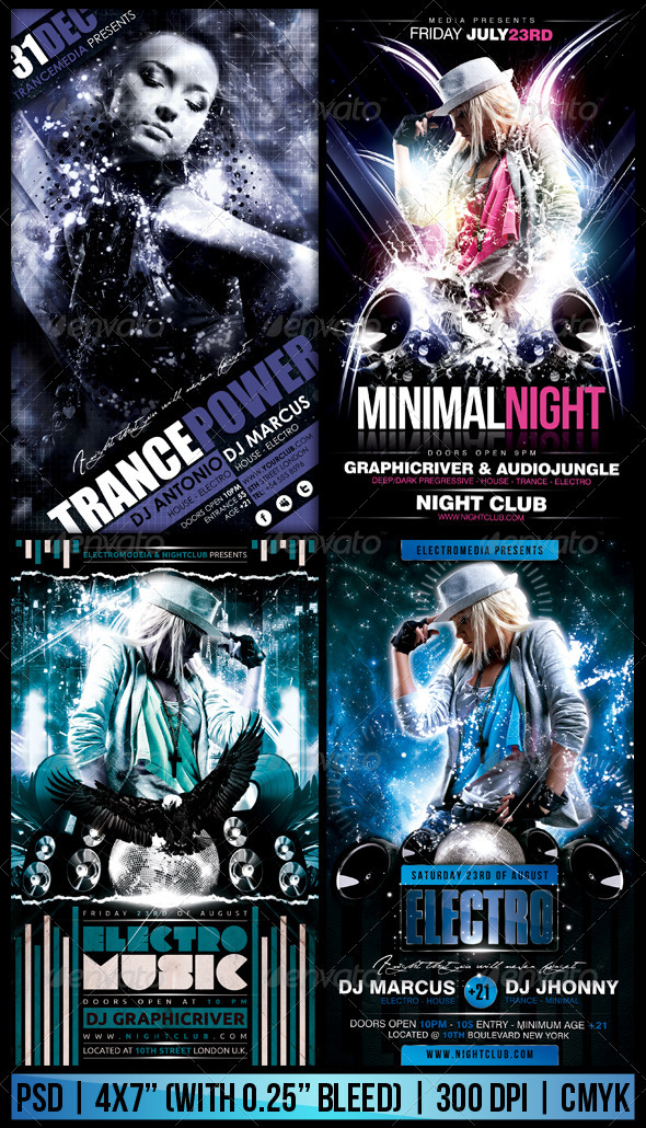 Electro  Trance Party Flyer Bundle By Fadeink  Graphicriver