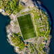 Football field stadium in Henningsvaer from above. - PhotoDune Item for Sale