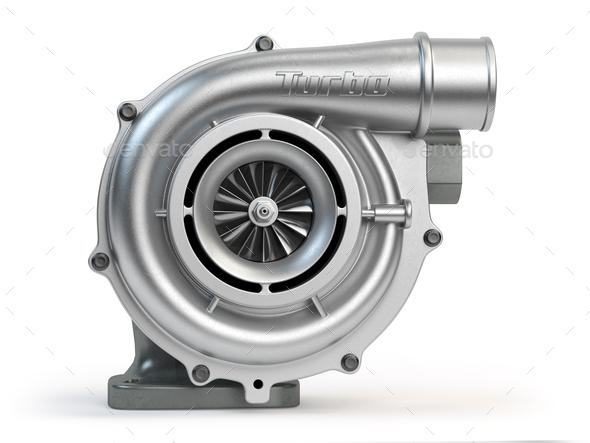 Car turbocharger isolated on white background. Turbo engine. - Stock Photo - Images