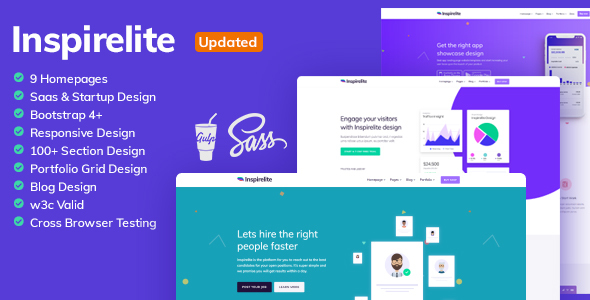 Inspirelite Creative Template for SaaS, Startup, & Web app
