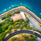 Aerial view of road, boats and yachts in the sea at sunset - PhotoDune Item for Sale