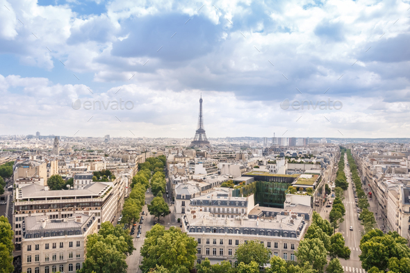 View of Paris city with cloudy sky, France - Stock Photo - Images