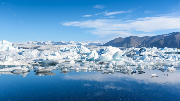 view of icebergs in glacier lagoon, Iceland - Stock Photo - Images