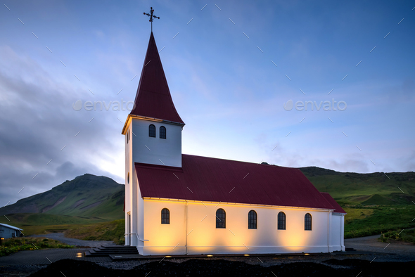 Vik i Myrdal Church in the evening, Europe, Iceland - Stock Photo - Images