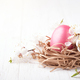 Pink Egg in Nest. Easter Greeting Card. - PhotoDune Item for Sale