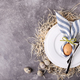 Easter Table Setting on Stone Background with Copy Space. - PhotoDune Item for Sale