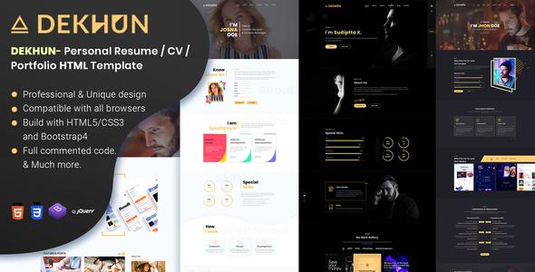 Dekhun Personal Resume / CV / Portfolio HTML Template