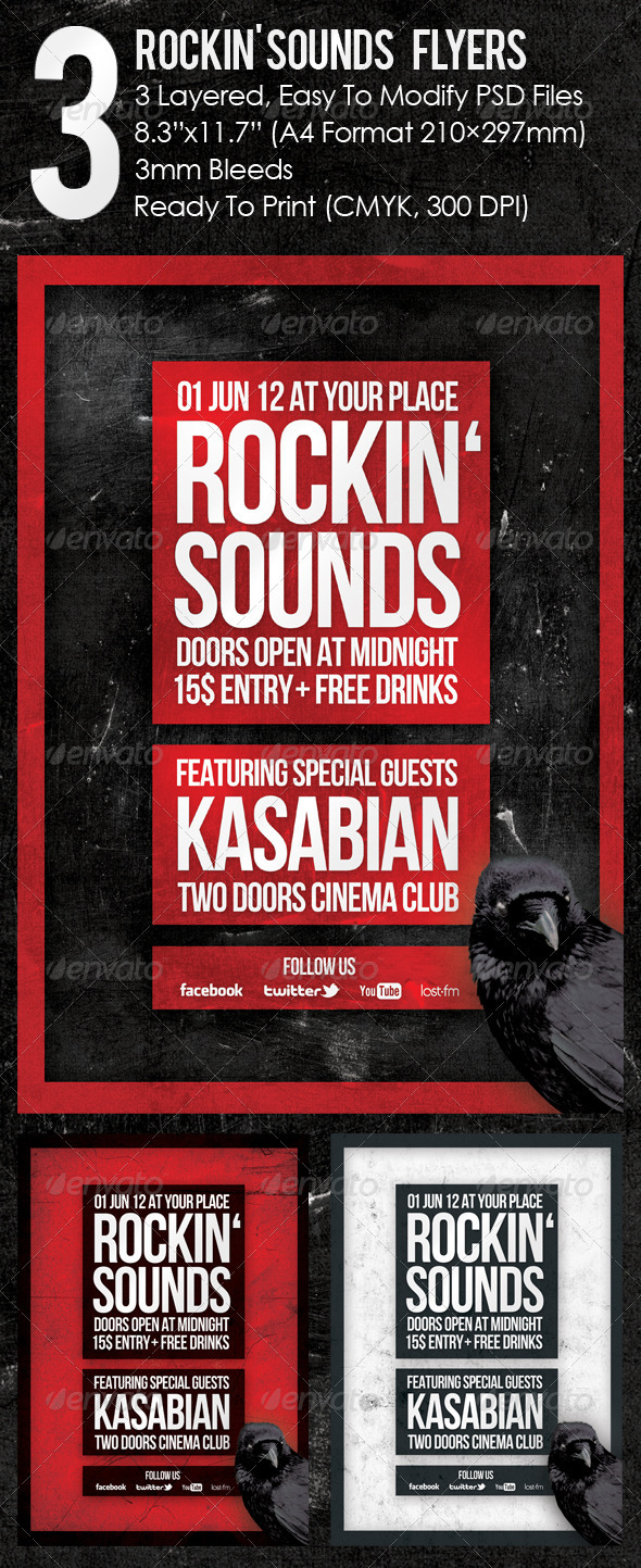 3 Rockin' Sounds Flyers - Events Flyers