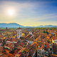 Lucca panoramic aerial view of city and San Michele Cathedral. Tuscany, Italy - PhotoDune Item for Sale