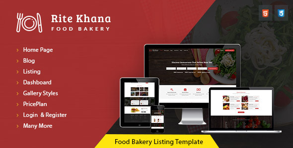 RiteKhana Food Bakery Listing & Restaurant Listing HTML Template