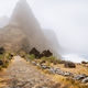 Santo Antao Island, Cape Verde. Cobbled road of Aranhas valley with impressive mountain peak. Hiking - PhotoDune Item for Sale