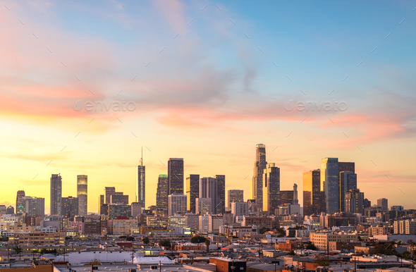 Downtown Los Angeles skyline at sunny day - Stock Photo - Images