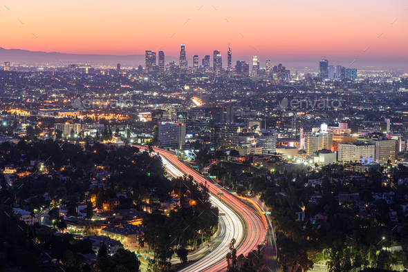 Downtown Los Angeles skyline at sunrise - Stock Photo - Images