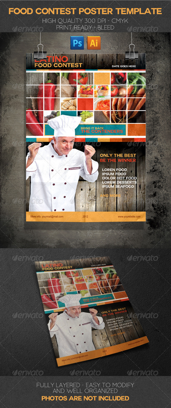 Latino Food Contest Poster Template - Events Flyers