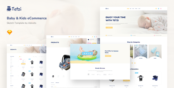 Tetzi - Baby & Kids eCommerce Sketch Template by adveits