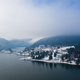 Magic foggy sunrise over Colibita lake in winter, Romania. - PhotoDune Item for Sale