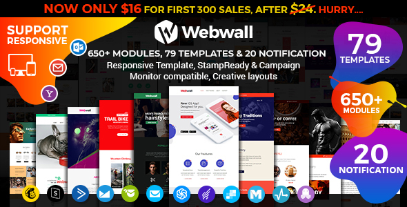 Webwall - Multipurpose Responsive Email Template + StampReady & CampaignMonitor compatible files by webwall