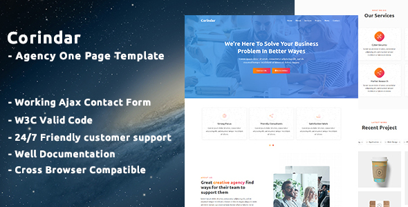 Wondrous Corindar - Agency One Page Template