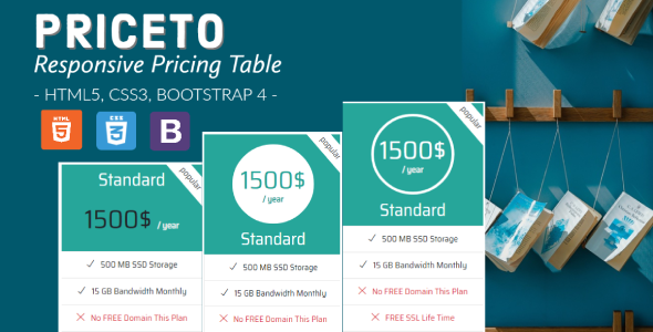 Priceto - Responsive Pricing Tables