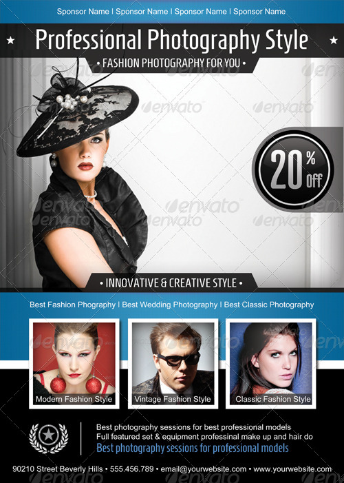 Fashion Photography Psd Flyer Poster Template By Graphikaria