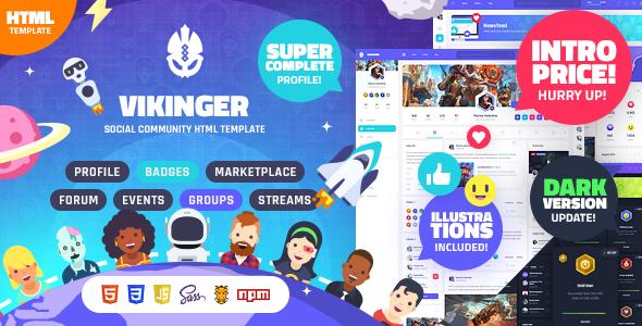 Vikinger - Social Community and Marketplace HTML Template