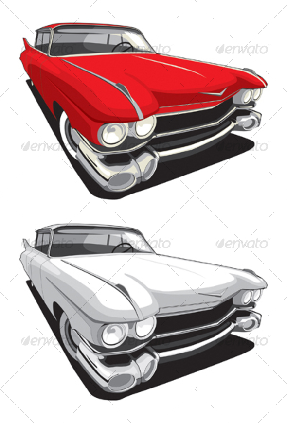 American retro car - Objects Vectors
