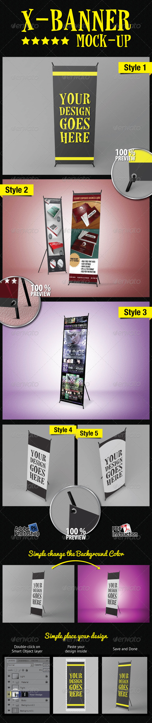 Standing X-Banner Mockup - Signage Print