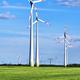 Modern wind wheels in a cornfield - PhotoDune Item for Sale