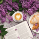 Spring background with lilac, coffee and book - PhotoDune Item for Sale