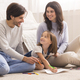 Loving Parents Drawing With Little Daughter On Floor In Living Room - PhotoDune Item for Sale