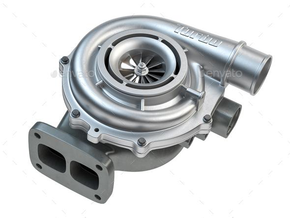 Car turbocharger isolated on white background. Auto part turbo engine. - Stock Photo - Images