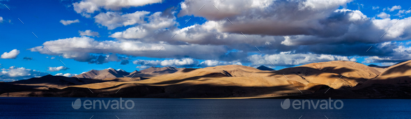 Panorama of Himalayan lake Tso Moriri. Ladakh, India - Stock Photo - Images