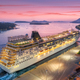 Aerial view of cruise ship in port at night in Dubrovnik - PhotoDune Item for Sale