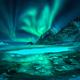 Aurora borealis over snowy mountains, frozen sea coast - PhotoDune Item for Sale