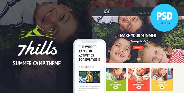 SevenHills - Hiking Summer Camp Children PSD Template