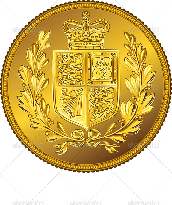 Vector British Money Gold Coin Sovereign - Business Conceptual